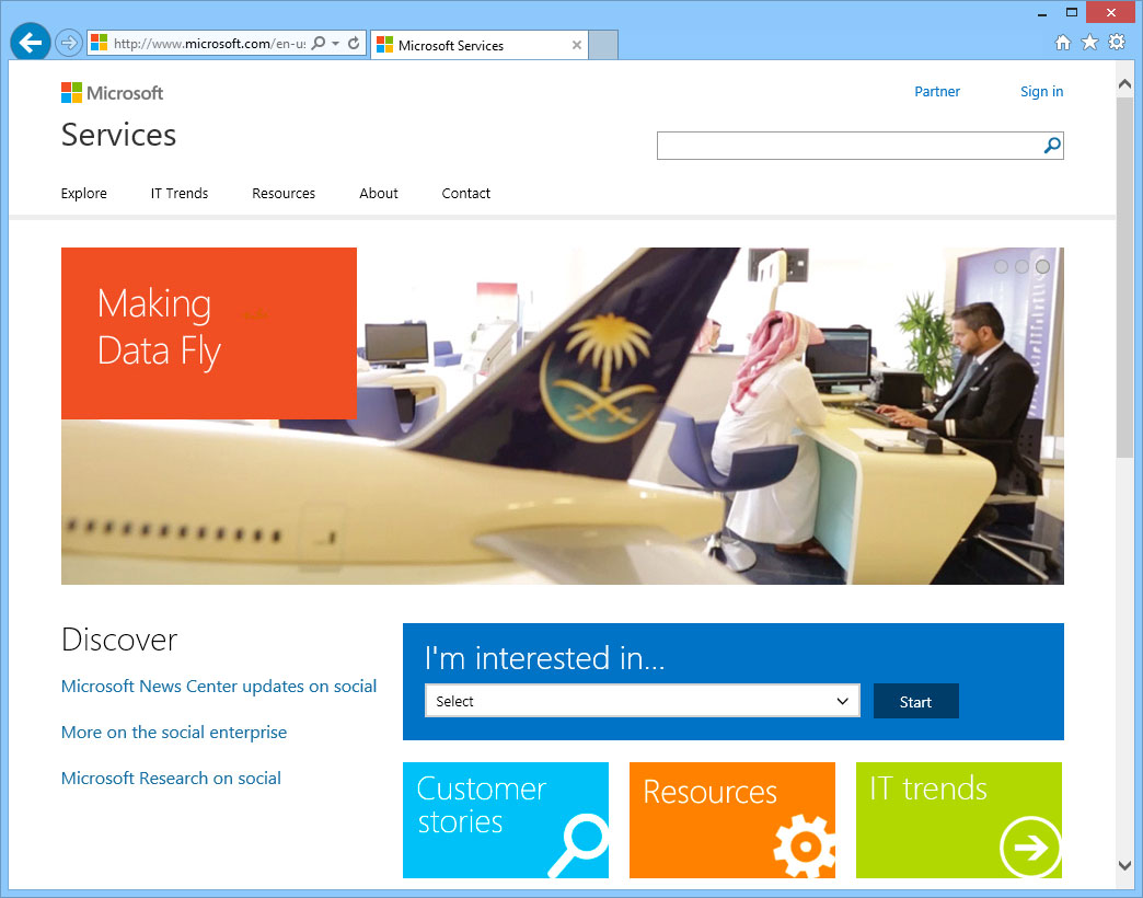 Microsoft Services homepage